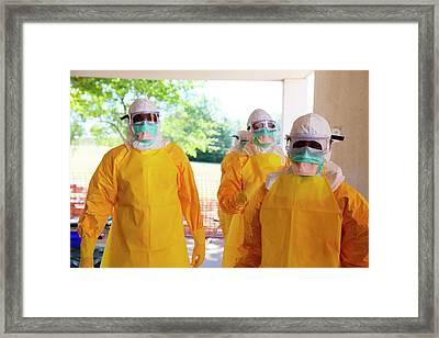 Ebola Prevention Training Framed Print by Cdc/nahid Bhadelia, M.d.