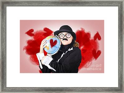 Eccentric Man Showing World Love By Cuddling Globe Framed Print by Jorgo Photography - Wall Art Gallery