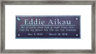 Framed Print featuring the photograph Eddie Aikau Plaque by Leigh Anne Meeks
