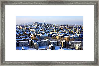 Framed Print featuring the photograph Edinburgh Winter Cityscape by Craig B