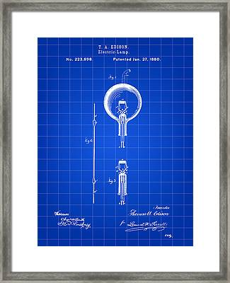 Edison Light Bulb Patent 1880 - Blue Framed Print