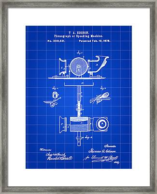Edison Phonograph Patent 1878 - Blue Framed Print