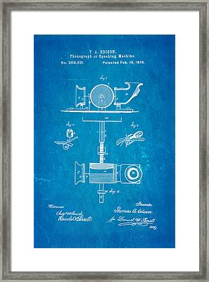 Edison Phonograph Patent Art 1878 Blueprint Framed Print