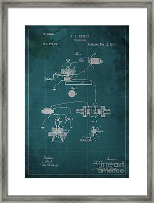 Edison Telephone Patent Blueprint 1 Framed Print by Pablo Franchi