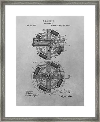 Edison's Phonograph Patent Framed Print by Dan Sproul