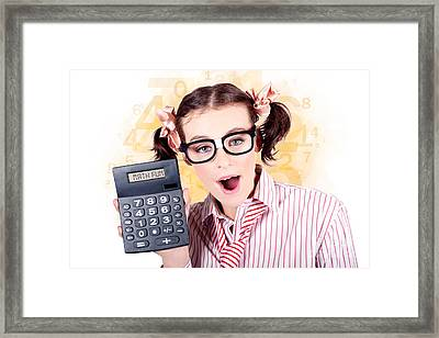Education Math Tutor Holding Numbers Calculator Framed Print by Jorgo Photography - Wall Art Gallery