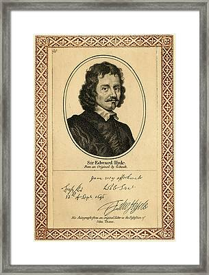Edward Hyde, 1st Earl Of  Clarendon Framed Print by Mary Evans Picture Library