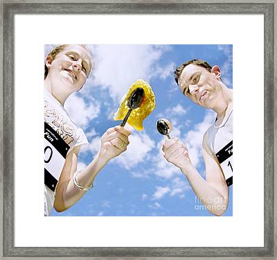 Egg And Spoon Race Framed Print