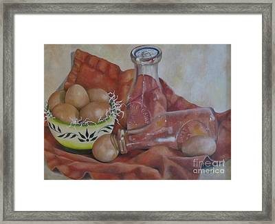 Eggs With Milk Bottles Framed Print by Karen Olson