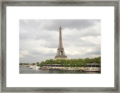 Eiffel Tower And The Seine Framed Print by For Ninety One Days