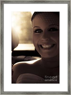 Elated Bride Sitting In The Wedding Car  Framed Print by Jorgo Photography - Wall Art Gallery