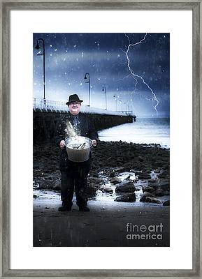 Elderly Fisherman Holding A Bucket Of Fish Framed Print by Jorgo Photography - Wall Art Gallery