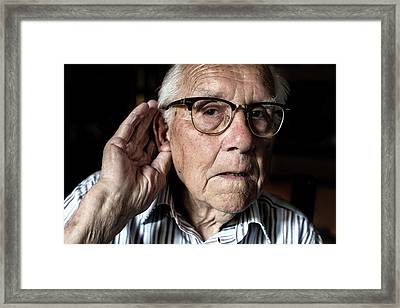 Elderly Man With Hearing Loss Framed Print