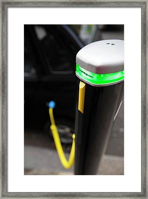 Electric Car Recharging Station Framed Print by Ashley Cooper