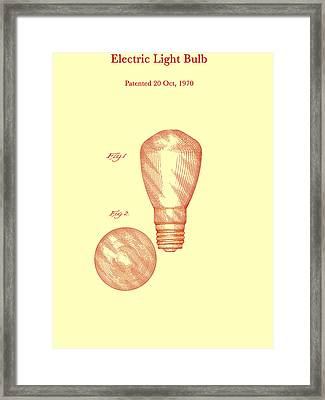 Electric Light Bulb Patent 1970 Framed Print by Mountain Dreams