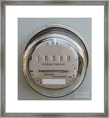 Electric Power Supply Watthour Meter Glass Covered Framed Print
