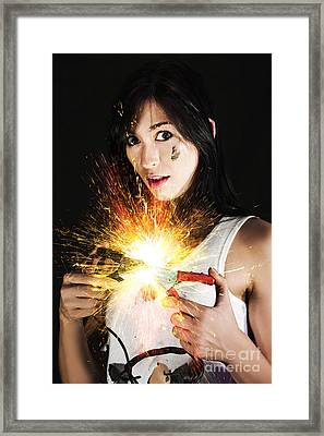 Electric Shock Power Surge Framed Print