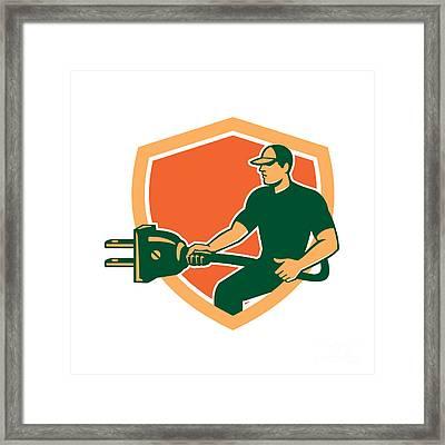 Electrician Carrying Electric Plug Shield Retro Framed Print by Aloysius Patrimonio