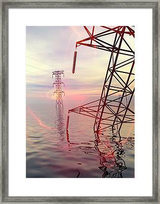 Electricity Pylons In Water Framed Print by Victor Habbick Visions