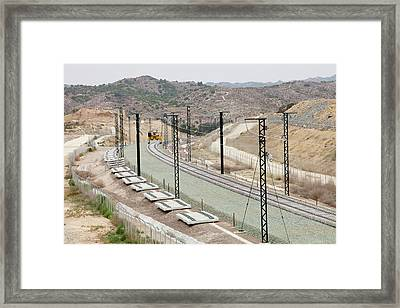 Electrified Railway Line Being Built Framed Print by Ashley Cooper