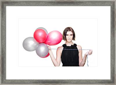 Elegant Woman Holding Balloons Framed Print by Jorgo Photography - Wall Art Gallery