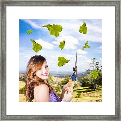 Elegant Young Woman With Shears. Gardening Love Framed Print by Jorgo Photography - Wall Art Gallery