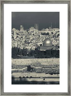 Elevated City View With Temple Mount Framed Print