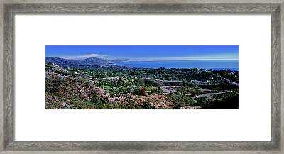 Elevated View Of City At Coast, Santa Framed Print by Panoramic Images