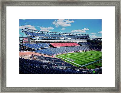 Elevated View Of Gillette Stadium, Home Framed Print