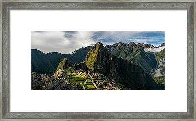 Elevated View Of Inca Ruins, Machu Framed Print by Panoramic Images