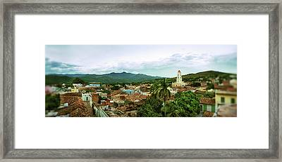 Elevated View Of Townscape Framed Print