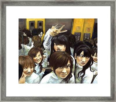 Elevator People People People Framed Print by Vanessa Baladad
