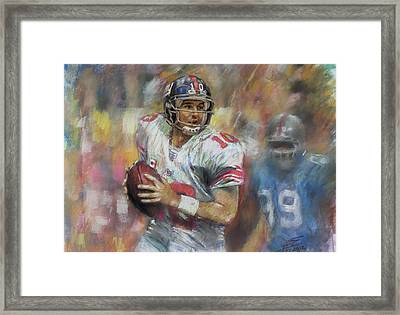 Eli Manning Nfl Ny Giants Framed Print by Viola El