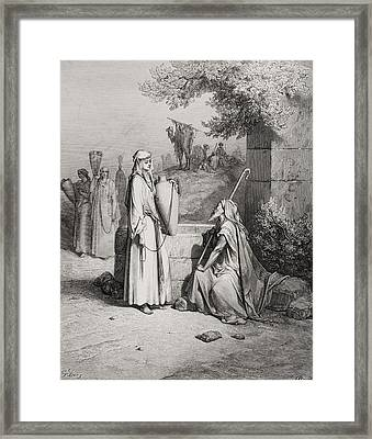 Eliezer And Rebekah Framed Print by Gustave Dore