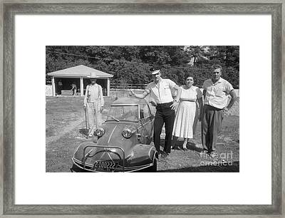 Elvis And His Messerschmitt With Vernon And Gladys Presley 1956 Framed Print by The Harrington Collection