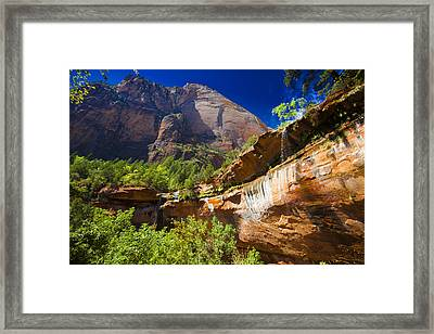 Emerald Pools Falls Zion Park Framed Print by Richard Wiggins