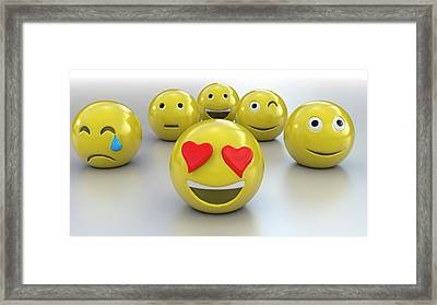 Emojis Framed Print by Christian Darkin