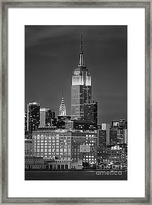 Empire And Chrysler Buildings Framed Print