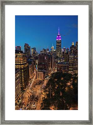 Empire State Building At Twilight Framed Print by F. M. Kearney