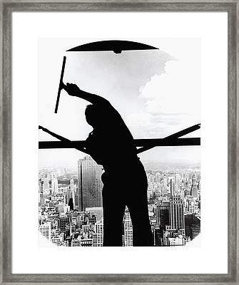 Empire State Window Washer Framed Print by Underwood Archives