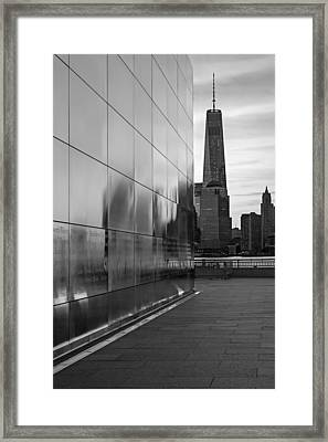 Empty Sky Memorial And Freedom Tower Sunrise Framed Print by Susan Candelario