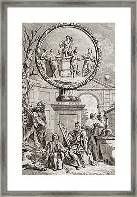 Engraving Depicting Discord And Harmony Framed Print by Middle Temple Library