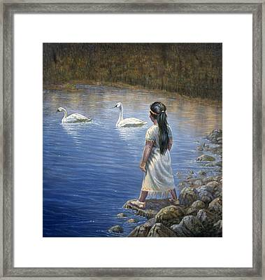 Enjoying The Trumpeter Swans Framed Print by Gregory Perillo