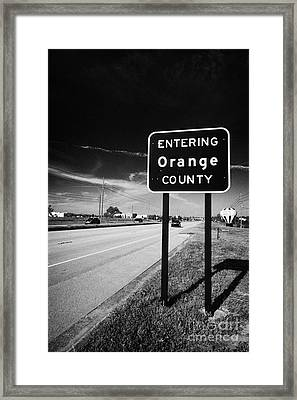 Entering Orange County On The Us 192 Highway Near Orlando Florida Usa Framed Print by Joe Fox