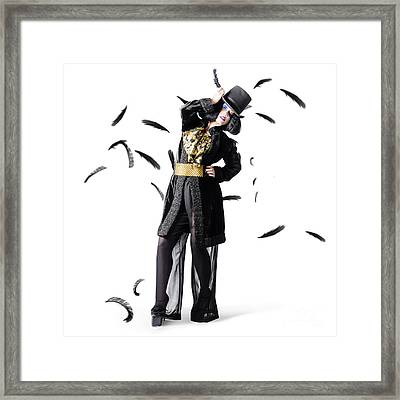 Entertainer Dancing Among Falling Feathers Framed Print by Jorgo Photography - Wall Art Gallery