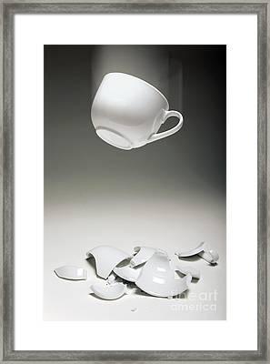 Entropy Shown By Broken Cup Framed Print