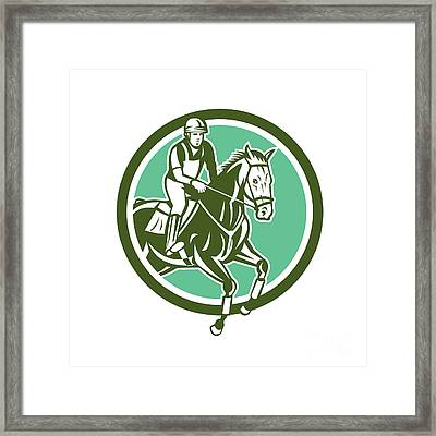 Equestrian Show Jumping Circle Retro Framed Print