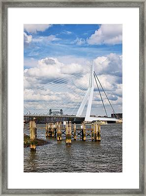 Erasmus Bridge In Rotterdam Framed Print by Artur Bogacki