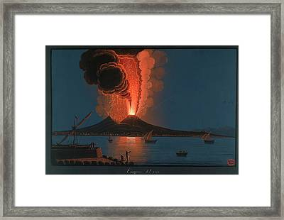 Eruption Of Mt. Vesuvius Framed Print by British Library