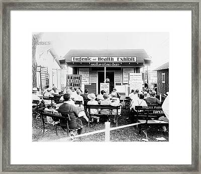 Eugenics Lecture At Public Fair Framed Print
